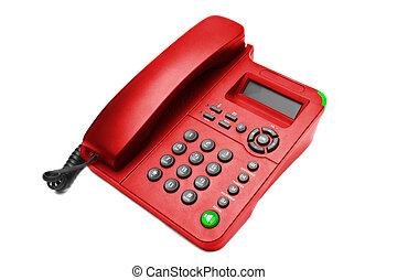 ip, 電話, 被隔离, 辦公室, 紅色