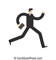 isolated., 插圖, 老板, 跑, 矢量, 商人, run.
