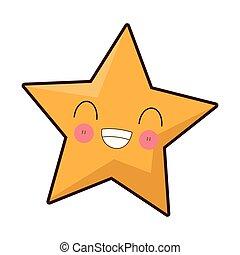 kawaii, 微笑, 星, 卡通