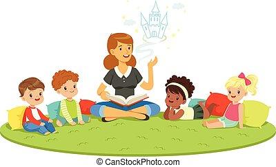 kindergarden., 學生, 撫育, 卡通, 鮮艷, teacher., 說明, 基本, 詳細, 教育, 孩子