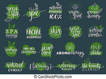 labels., 美麗, signs., 礦泉, 化妝品, 健康, 記號, 健康, 集合, 中心, 矢量, 關心, badges., 瑜伽, 有机, 手, 畫