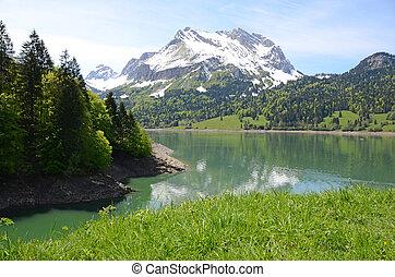 lake., 瑞士, 山