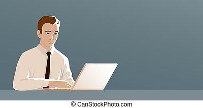 laptop., 工作, 人, 領帶, 事務