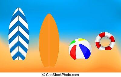 lifebuoy, 球, 海灘, 衝浪板, 背景