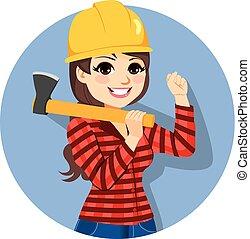 lumberjack, 女性, 斧子