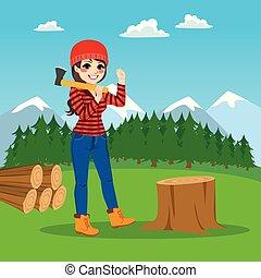lumberjack, 森林, 女性