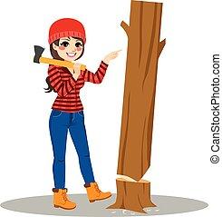 lumberjack, 概念, 樹, 女性, 容易