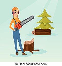 lumberjack, 矢量, chainsaw, illustration.