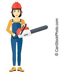 lumberjack, chainsaw.