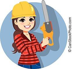 lumberjack, chainsaw, 藏品, 女性
