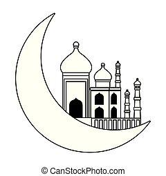 mahal, 被隔离, 月亮, 黑色, 白色, 四分之一, 卡通, taj