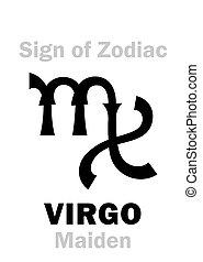 maiden), 簽署, 處女座, (the, 黃道帶, astrology: