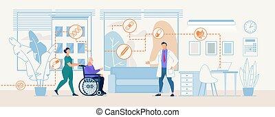 med, 專業人員, 治療, 診斷, 旗幟, 中心