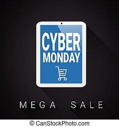 mega, 購物, 片劑, 星期一, 海報, 銷售, 車, 設計, cyber, 數字, 假期, meggase