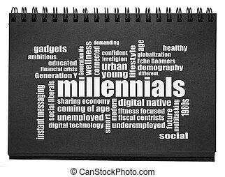 millennials, 詞, 雲, sketchbook