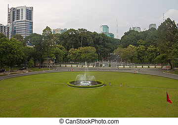 minh, 西貢, chi, 宮殿, 公園, 前面, 越南, city), 重新統一, (ho