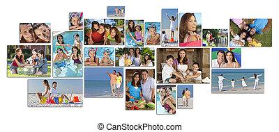 montage, 愉快, 生活方式, 家庭, 二, 父母, 孩子, &