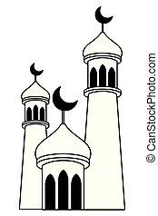 mubarak, 塔, 月亮, 黑色, eid, 白色, 四分之一
