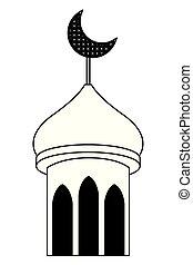 mubarak, 月亮, 黑色, eid, 塔, 四分之一, 白色