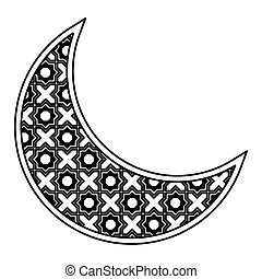mubarak, 符號, 被隔离, 月亮, 黑色, eid, 白色