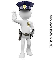 nightstick, 警察, 指令, 停止, 槍, 3d