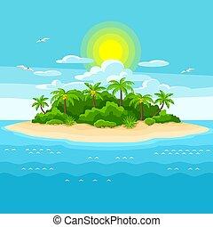 ocean., 樹。, 旅行, 插圖, 海洋, 熱帶, 棕櫚, 背景, 島, 風景