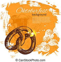 oktoberfest, illustration., 葡萄酒, 手, 背景。, 啤酒, 飛濺, 設計, 團點, 畫, retro