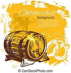 oktoberfest, illustration., 葡萄酒, 手, 背景。, 啤酒, 飛濺, 設計, 團點, 菜單, 畫, retro