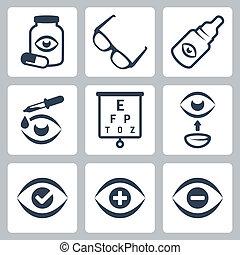 optometry, 矢量, 集合, 圖象