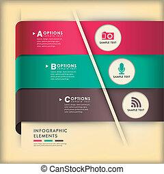 origami, 摘要, 紙, 3d, infographics