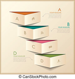 origami, 摘要, 3d, 旗幟, infographics