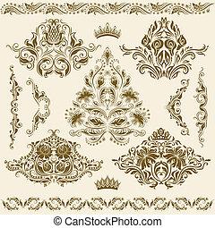 ornaments., 矢量, 集合, 緞子
