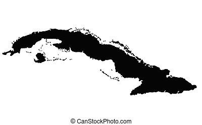 outline., 地圖, 矢量, 古巴