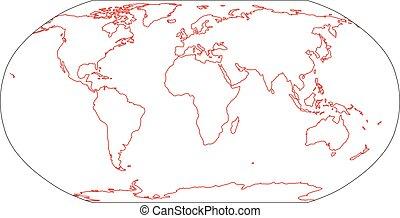 outline, 插圖, 簡單, 套間, world., 矢量, 地圖