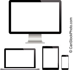 p, 監控, 現代, 電腦, 膝上型