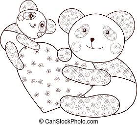 page., 心, 著色, 布朗, 書, outline., 熊貓, 孩子