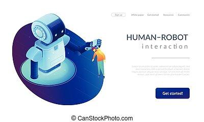 page., 等量, 相互作用, human-robot, 著陸, 3d