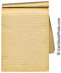 pages., 老, 在上方, 空白, 筆記本, 撕碎, 白色
