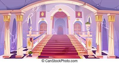 palace., 空, 老, 城堡, 被放棄, 樓梯