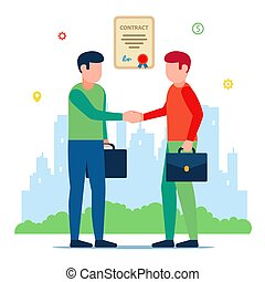 partners., 簽名, 會議, contract., 事務