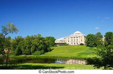 pavlovsk, 公園, 小山, 宮殿