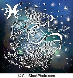 pisces., 簽署, horoscope., 黃道帶, 星, 空間, 被模糊不清