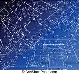 plan., 房子, 矢量, 藍圖