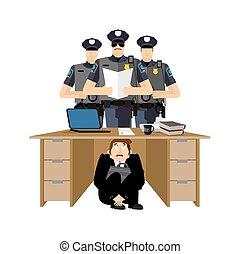 policemen., justice., 隱藏, 商業辦公室, 惊嚇, 工作, 插圖, police., 拘捕, desk., 矢量, 商人, 在下面, board., 桌子, 懼怕, 老板, 受驚, 人