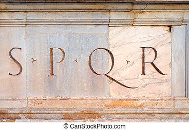 populus, 人們, 縮寫, senatus, romanus, 羅馬, spqr, 短, que, 羅馬, 參議院