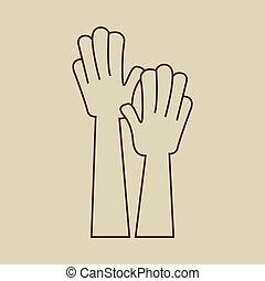 raised., 手, 圖象, 向上, 簽署