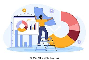 rebalancing, 金融, 站立, 梯子, 投資者, 圖表, 投資卷宗, 計劃者, 男性, 餅, 或者, 安排