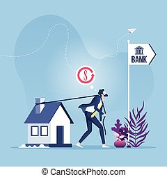 refinancing, 房子, 扯拽, bank., loan-businessman, 抵押