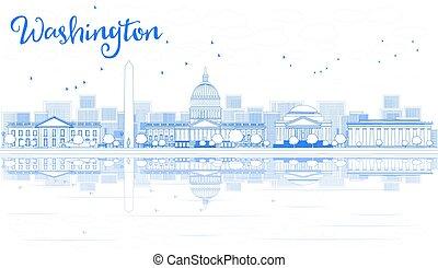 reflections., 華盛頓特區, 建筑物, 地平線, outline, 藍色