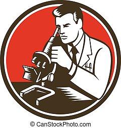 retro, 實驗室, 化學家, 研究人員, 科學家, 顯微鏡